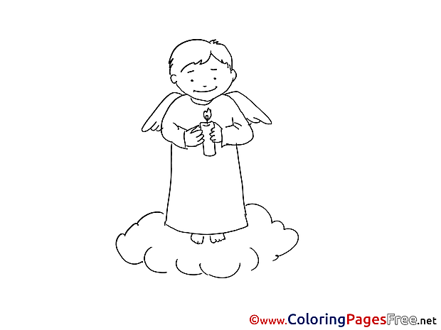 Coloring Sheets Christening free Angel