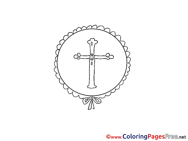 Cross Colouring Page Christening free