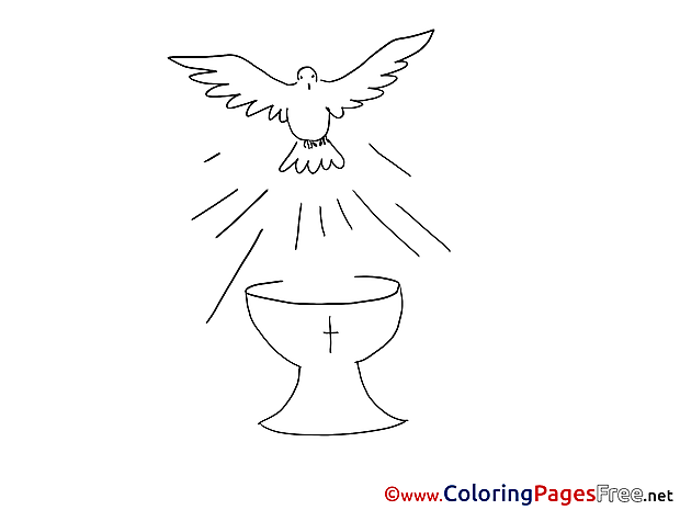 Cup Pigeon Christening Coloring Pages free