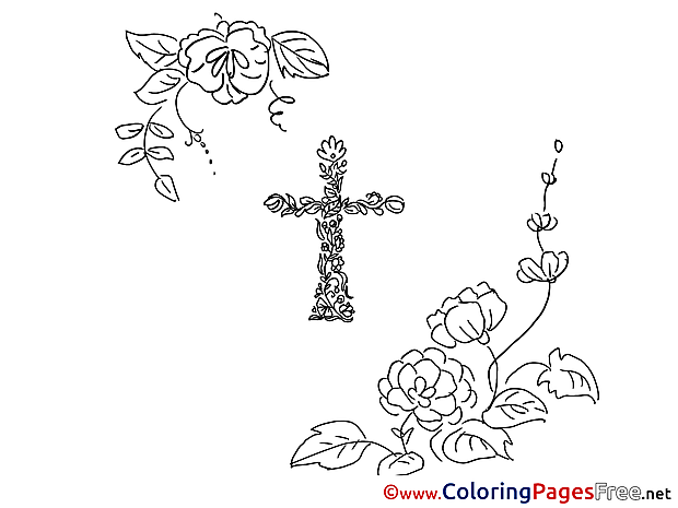 Flowers Kids Cross Christening Coloring Pages