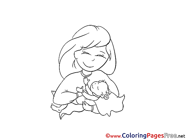 Mother Colouring Page Christening free