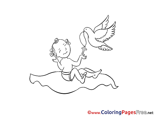 Pigeon for Kids Christening Colouring Page