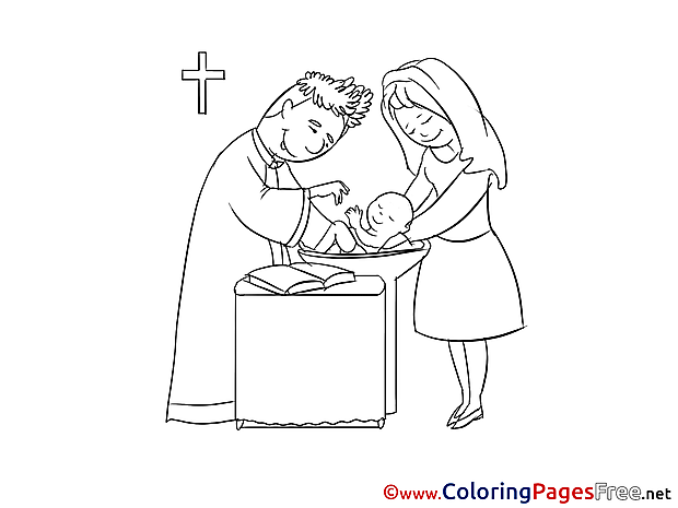 Priest Christening Colouring Sheet free