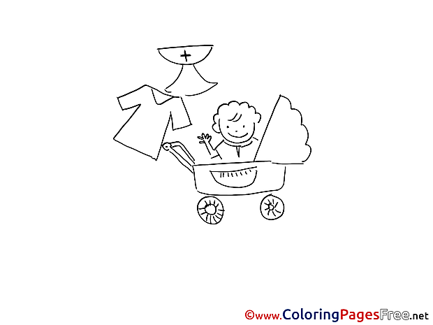 Stroller free Christening Coloring Sheets