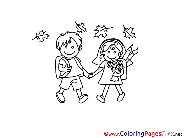 Autumn School for Kids printable Colouring Page