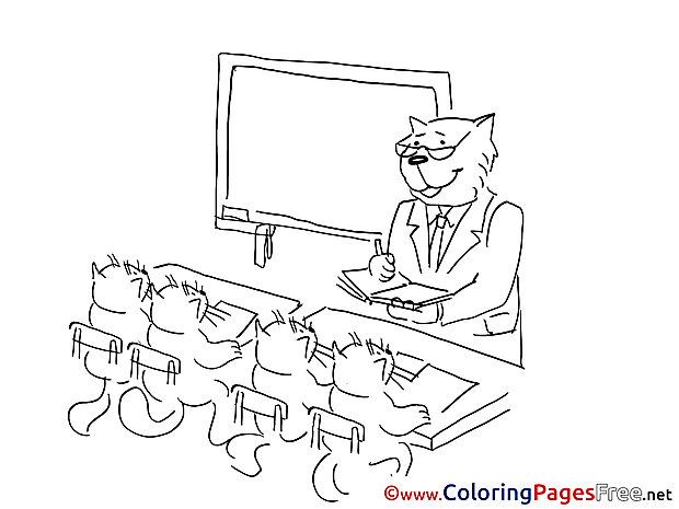 Cat School for Children free Coloring Pages