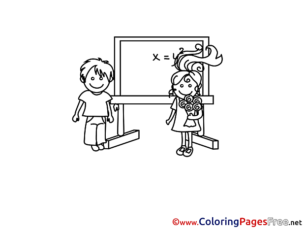 Classroom Pupils download Colouring Sheet free