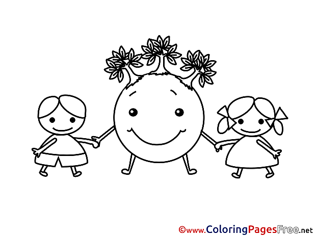 Friends Earth Kids for Children free Coloring Pages