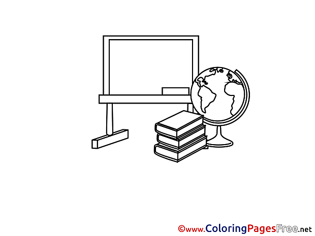 Globe Blackoard Books School Coloring Sheets free