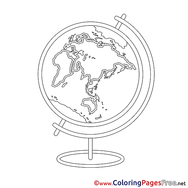 Globe printable Coloring Pages for free School