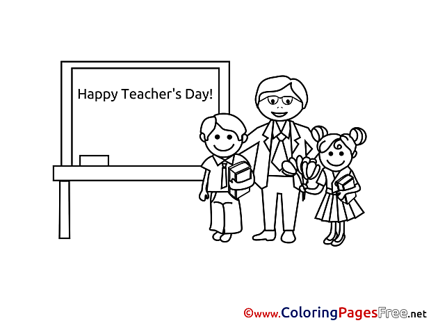 Happy Teacher's Day School Colouring Page printable free