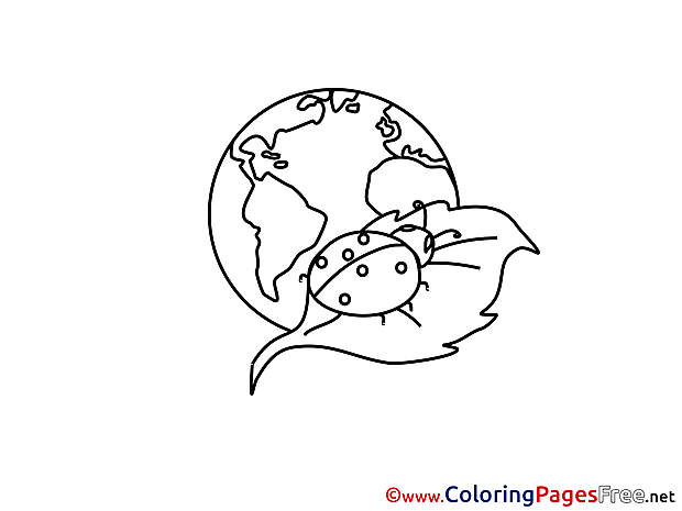 Ladybug Earth free Colouring Page download