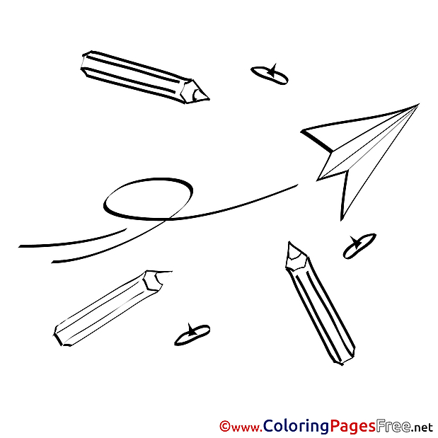 Plane Paper Pencils for Kids printable Colouring Page