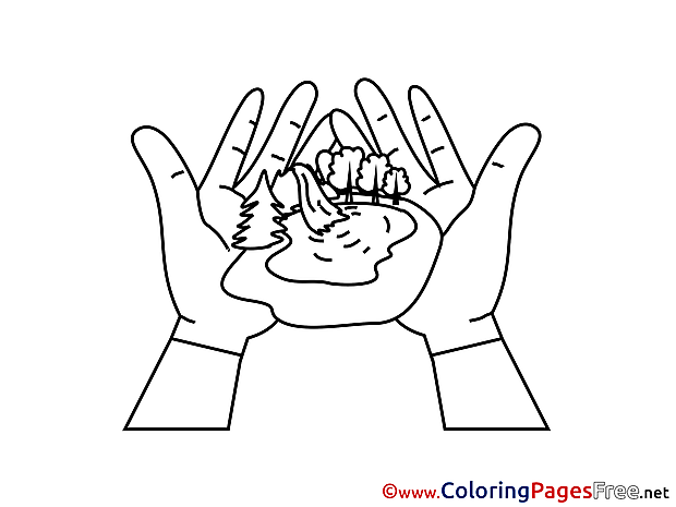 Pond in Hands Children download Colouring Page