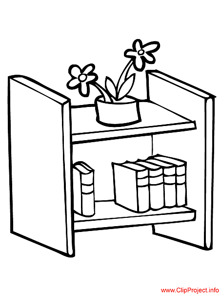 School coloring pages bookshelf