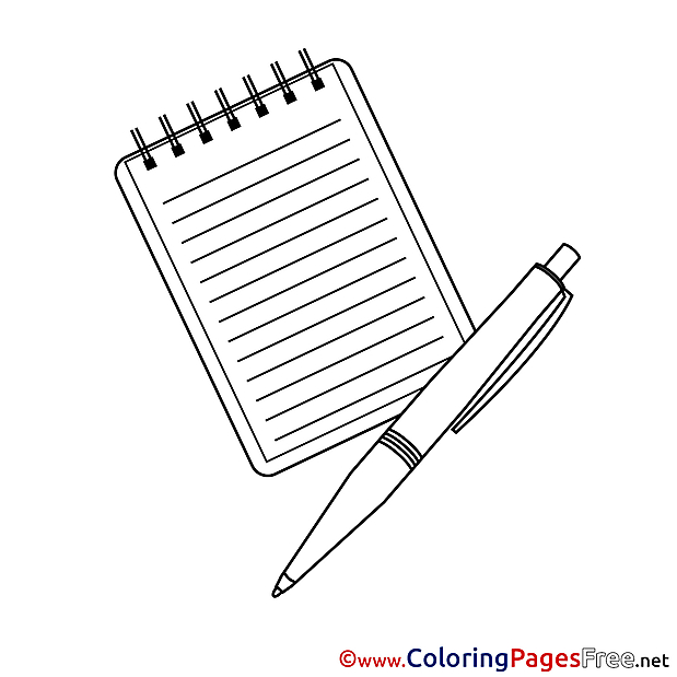 School Notepad Pen free Colouring Page download