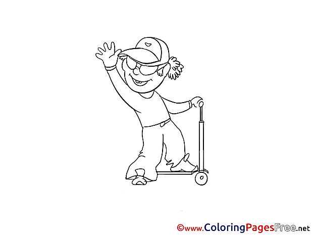 Scooter Coloring Pages for free