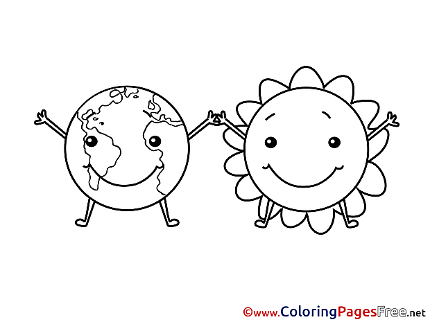 Sun Earth Coloring Sheets download free