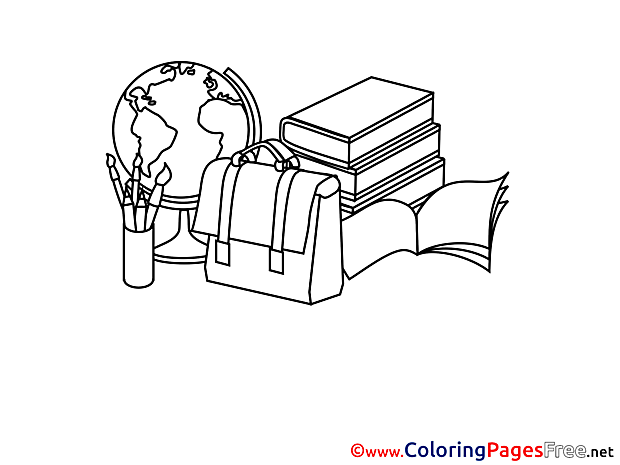 Supplies School Kids download Coloring Pages