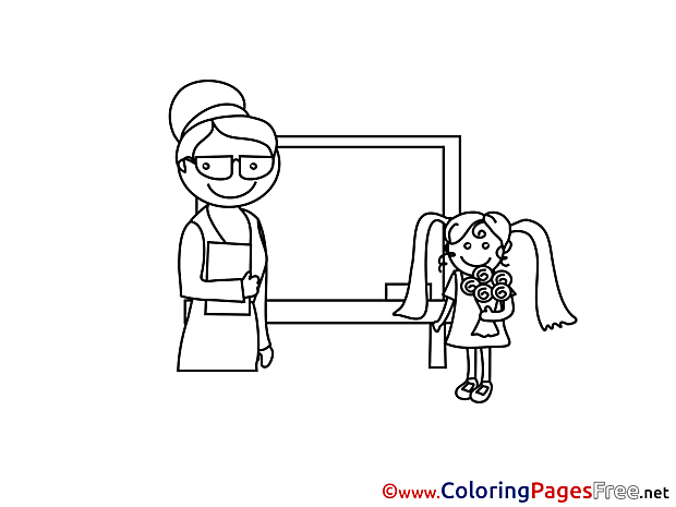 Teacher Girl printable Coloring Sheets download