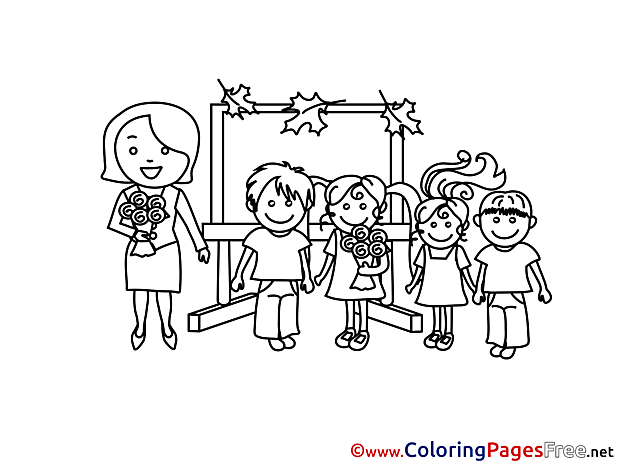 Teacher's Day Kids Children Coloring Pages free