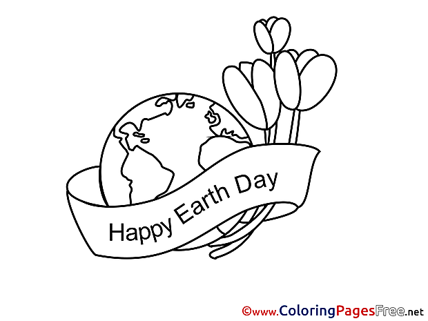 Tulips Happy Earth Day Colouring Page printable free