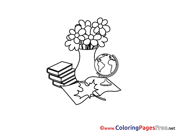 Vase Flowers Coloring Sheets download free