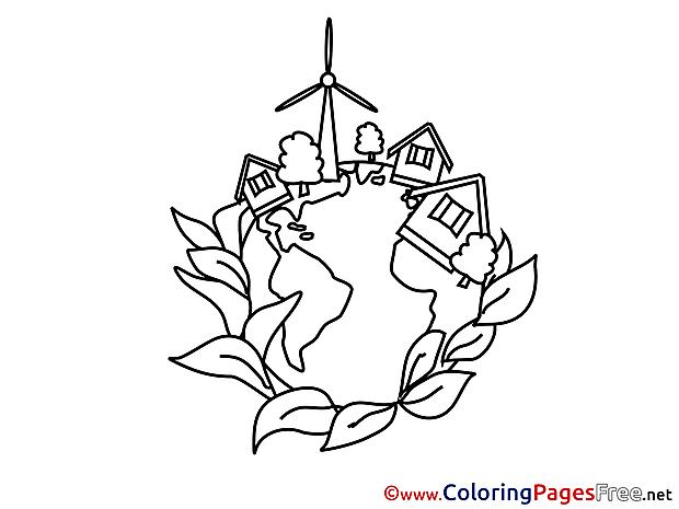 Village School Children Coloring Pages free