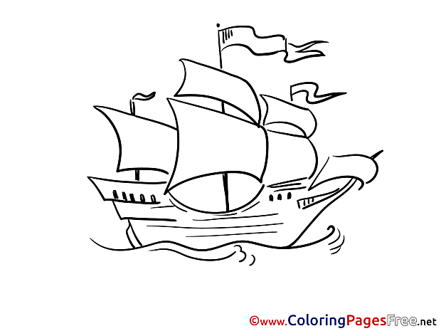 Sailing Ship Children Coloring Pages free
