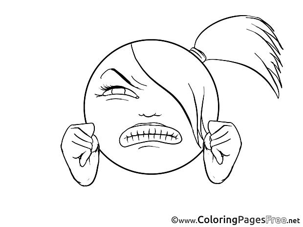 Angry Girl printable Coloring Pages Smiles