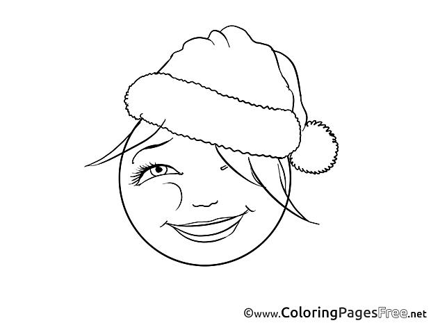 Santa Hat Kids Smiles Coloring Page
