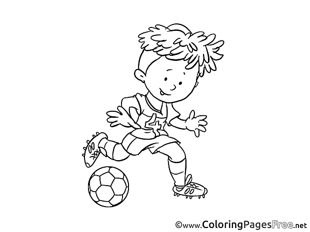 Attack Player Kid Soccer Colouring Sheet free