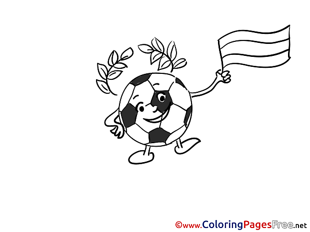 Ball with Flag printable Soccer Coloring Sheets