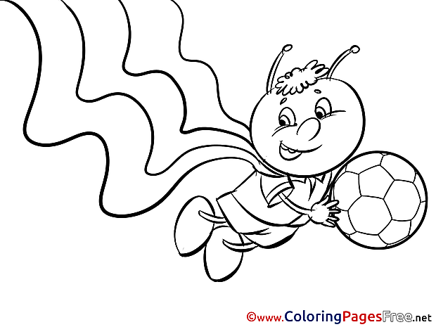 Bee with Ball for Kids Soccer Colouring Page