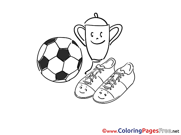 Cup Ball Boots Kids Soccer Coloring Pages