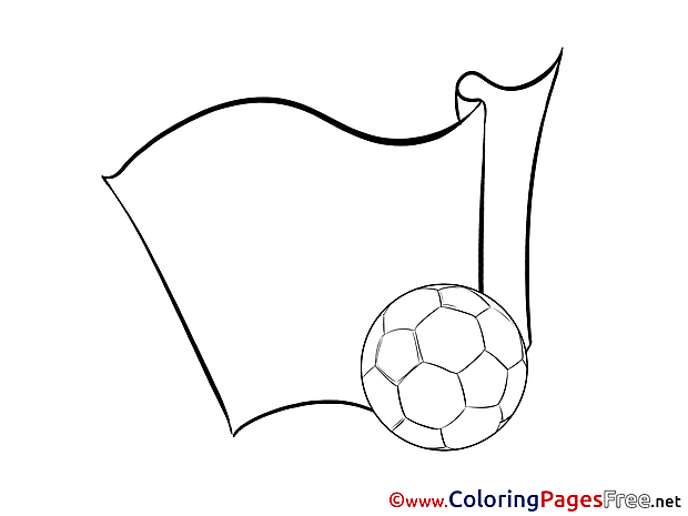 Flag Ball Colouring Page Soccer free
