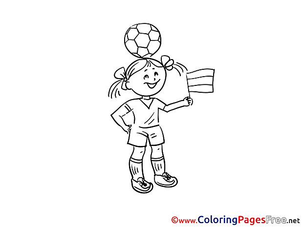 Flag Girl Ball printable Soccer Coloring Sheets