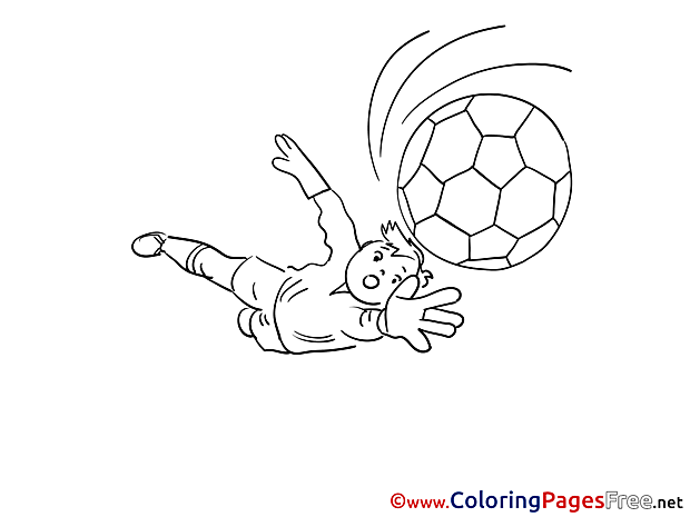 Flying Ball Goalkeeper Colouring Page Soccer free