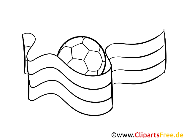 For Kids Ball Flag Soccer Colouring Page