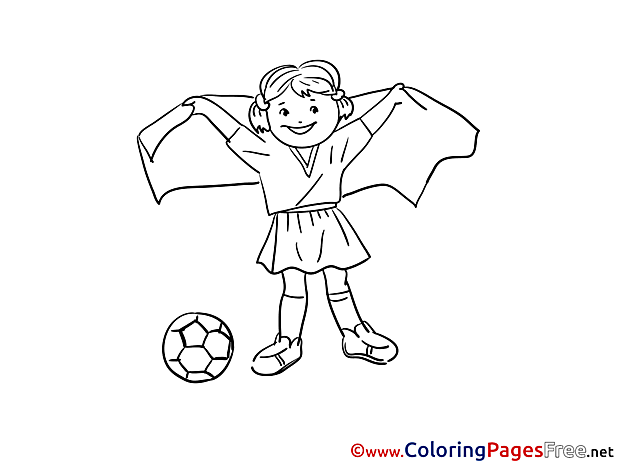 Girl Ball Soccer Coloring Pages free