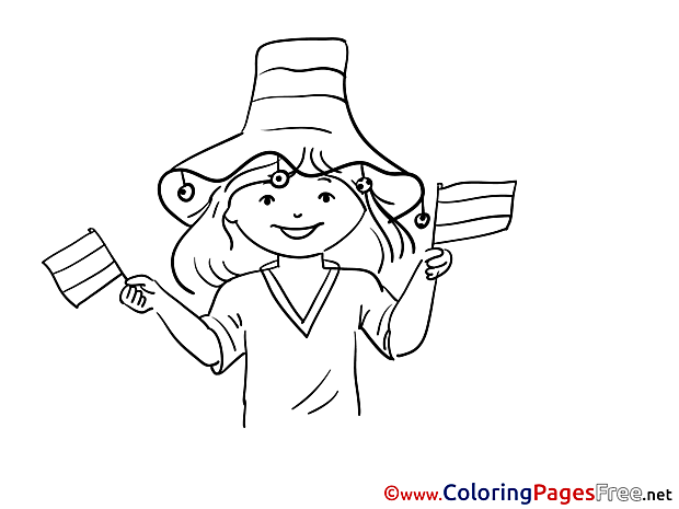 Girl Fan Soccer free Coloring Pages