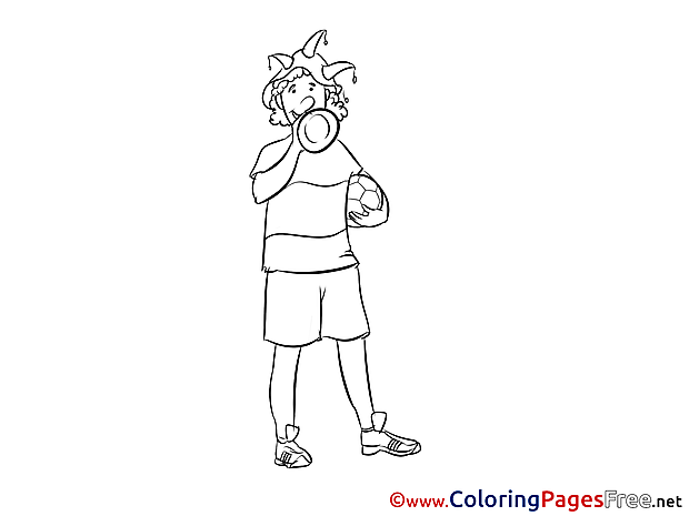 Horn Fan Kids Soccer Coloring Pages