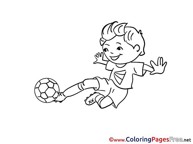 Kick Boy Children Soccer Colouring Page