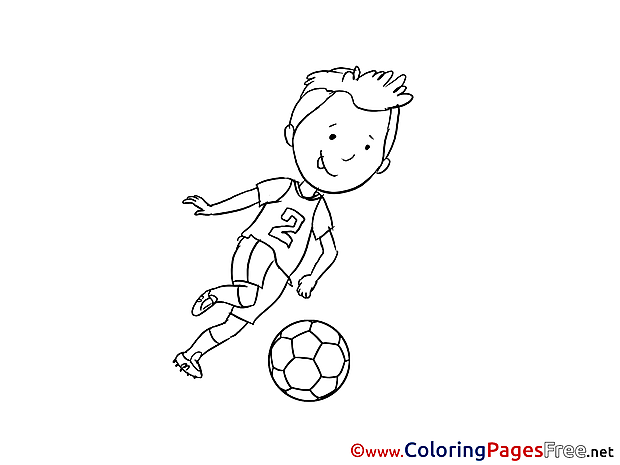 Number 2 Player Children Soccer Colouring Page