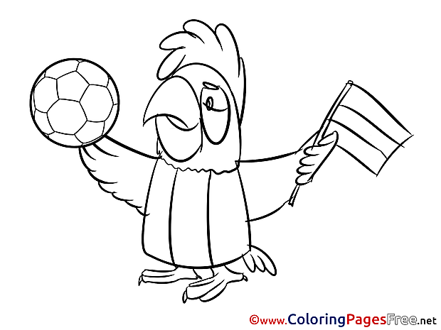 Parrot Supporter Colouring Sheet download Soccer