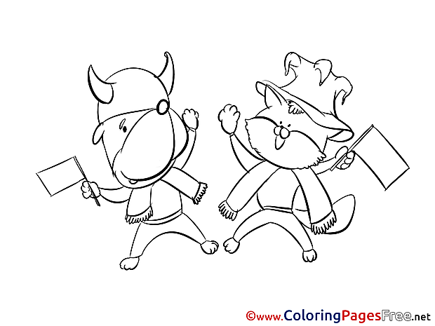 Pets Supporters printable Coloring Pages Soccer