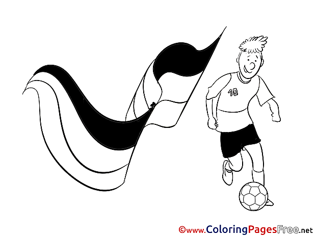Player Flag Children Soccer Colouring Page