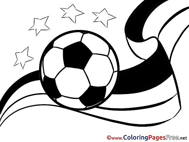 Ribbon Flag Ball Soccer Colouring Sheet free