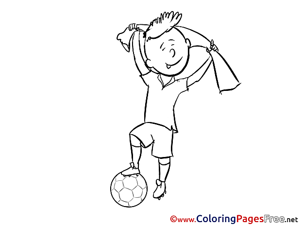 Scarf Boy Player Kids Soccer Coloring Page