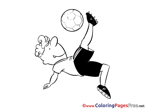 Soccer Children Kick Colouring Page